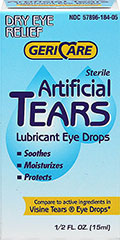 Artifical Tears Lubricant Eye Drops <p><b>From the Manufacturer's Label:</b><p>  <p>Lubricant Eye Drops<p> <p>Soothes<p> <p>Moisturizes <p> <p>Protects<p> <p>Compare to active ingredients in Visine Tears® Eye Drops*<p>  <p>Uses:  For the temporary relief of burning and irritation due to dryness of the eye - for protection against further irritation.<p>  <p>Manufactured by Gericare</p
