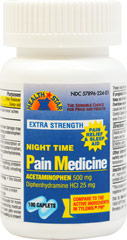 Acetaminophen 500 Mg Night Time Pain Medicine <p><strong>From the Manufacturer's Label:</strong></p><p>For the temporary relief of occasional headaches and minor aches and pains along with accompanying sleeplessness</p><p><strong></strong></p><p>Manufactured by Health Star.</p> 100 Caplets 500 mg $6.99