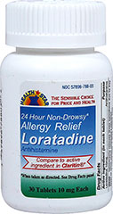 Loratadine 10 mg <p><b>From the Manufacturer''s Label:</b></p> <p>Loratadine 10 mg is manufactured by Health Star.</p> 30 Tablets 10 mg $11.99