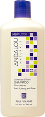 Andalou Lavender & Biotin Full Volume Shampoo <p><b>From the Manufacturer's Label:</b></p>   <p><b>Full Volume</b></p> <p><b>Benefits Fine, Limp, Thin Hair</b></p>   <p>Lavender gently refreshes, stimulating follicles. Biotin B-complex infuses essential protein for thicker, fuller strands, improved strength, texture and manageability for maximum volume and silky sheen.</p>   <p>Andalou Naturals Adva