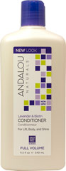 Andalou Lavender & Biotin Full Volume Conditioner <p><strong>From the Manufacturer's Label:</strong></p><p><strong>Full Volume</strong></p><p><strong>Benefits Fine, Limp, Thin Hair</strong></p><p>Lavender gently refreshes, stimulating follicles. Biotin B-complex infuses essential protein for thicker, fuller strands, improved strength, texture and manageability for maximum volume and silky sheen. </p><p