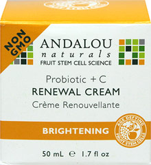 Andalou Probitioc + C Renewal Cream <p><b>From the Manufacturer's Label:<p></b>  <p><b>Brightening<p></b> <p> Support healthy probiotic microflora.  Advanced Fruit Stem Cells, Vitamin C and potent polypeptides effectively stimulate circulation and healthy cell renewal, improving clarity, tone and texture for a fresh, radiant complexion.</p>  <p>Manufactured by Andalou Naturals.</p> 1.7 fl oz Cream  $14.99