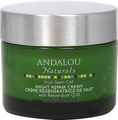 Andalou Fruit Stem Cells Night Repair Cream <p><b>From the Manufacturer's Label:</b></p> <p><b>Age-Defying</b></p>   <p>Resveratrol Q10, Advanced Fruit Stem Cells and BioActive 8 Berry Complex create a potent portfolio of antioxidants to stimulate circulation and healthy cell renewal for improved dermal structure and soft, smooth, ageless beauty.</p>	  <p>Manufactured by Andalou Naturals</p> 1.7 fl oz Cream  $17.39
