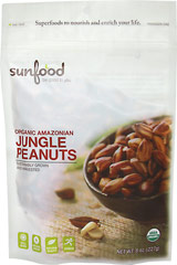 Wild Amazonian Jungle Peanuts Cultivated and harvested by the Shuar Indians, they have been a staple food for hundreds of years. With 40% beautifying oleic acid, Sunfood Organic Amazonian Jungle Peanuts are truly a heart healthy food. They are rich in antioxidants, outpacing hemp and flaxseed protein levels. These creamy nuts are rich in all eight essential amino acids, providing a good source of calcium and iron, and giving you the opportunity to enjoy the powerful benefits packed in every gold