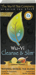 Wu-Yi Cleanse & Slim™ Lemon Honey Decaf Tea <p><strong>From the Manufacturer's Label:</strong></p><p>Wu-Yi Cleanse & Slim Lemon Honey Decaf Tea contains natural herbs and decaffeinated green tea which is known to have powerful health benefits.</p><p><strong></strong></p><p>Wu-Yi Cleanse & Slim™ Lemon Honey Decaf Tea is manufactured by Global Organix.</p> 25 Tea Bags  $5.39