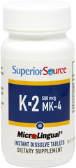 Vitamin K-2 500 mcg Sublingual <p><strong>From the Manufacturer's Label:</strong></p><ul><li>No pills to swallow</li><li>Dissolves on contact</li><li>GMO and preservative free<strong></strong></li></ul><p>Vitamin K-2 500 mcg Sublingual is manufactured by Superior Source.</p> 60 Tablets 500 mcg $15.99