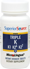 Advanced Triple Vitamin K <p><strong>From the Manufacturer's Label:</strong></p><ul><li>No pills to swallow</li><li>Dissolves immediately on contact</li><li>Preservative free<strong></strong></li></ul><p>Advanced Triple Vitamin K1, K2/4, K2/7 is manufactured by Superior Source.</p> 30 Tablets 1050 mcg $16.49