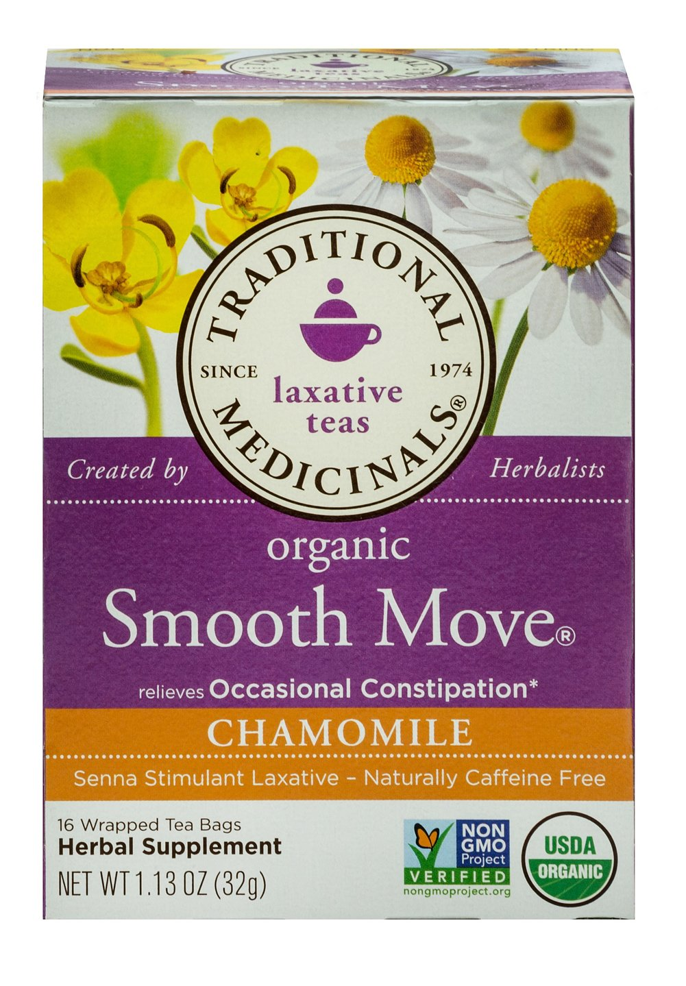 Smooth Move® Chamomile Tea <p><b>From the Manufacturer's Label:</b></p> <p>Smooth Move® Chamomile Tea is manufactured by Traditional Medicinals®</p> 16 Tea Bags  $3.99