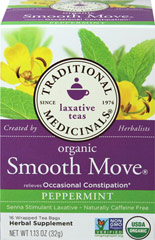 Organic Smooth Move Peppermint Tea <p><strong>From the Manufacturer's Label:</strong></p><p>This Organic Smooth Move Peppermint tea is delicious and caffeine free. Pleasantly aromatic, pepperminty and bittersweet. This tea will be your relief at the end of the day. Best taken at bedtime, go to sleep knowing you will feel wonderful in the morning.<br /></p> 16 Tea Bags  $9.99