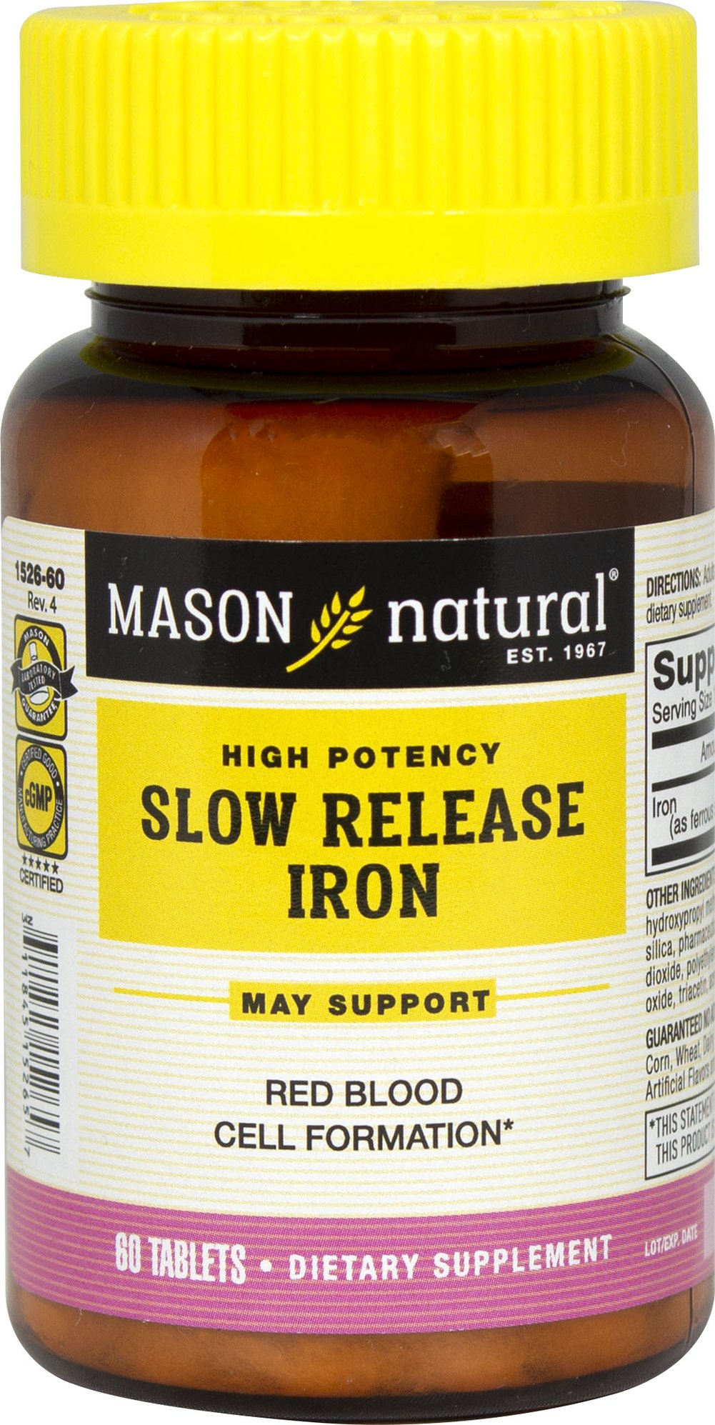 Iron 50 mg Slow Release <p><b>From the Manufacturer's Label:</b></p> <p>Slow Release Iron 50 mg is manufactured by Mason Naturals.</p> 60 Tablets 50 mg $4.99