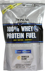 100% Whey Protein Fuel Vanilla Slam <p><b>From the Manufacturer's Label:</b></p> <p>100% Whey Protein Fuel is manufactured by Twinlab. Available in Vanilla Slam, Chocolate Surge & Cookies & Cream flavors.</p> 1 lb Powder  $10.57