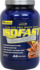 Iso Fast Whey Milkshake Chocolate <strong>From the Manufacturer's Label:</strong><br /><br />Whey Protein Isolate (WPI) remains the most popular choice available.  Enjoy a creamy, mouthwatering ISOFAST Whey.<br /><br />Manufactured by MHP. 2.96 lbs Powder  $44.99