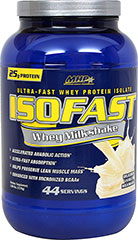 Iso Fast Whey Milkshake Vanilla <strong>From the Manufacturer's Label:</strong><br /><br />Whey Protein Isolate (WPI) remains the most popular choice available.  Enjoy a creamy, mouthwatering ISOFAST Whey.<br /><br />Manufactured by MHP. 2.88 lbs Powder  $44.99