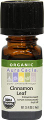 Organic Cinnamon Leaf Oil <b><p> From the Manufacturer: </b></p><p>The fresh, spicy aroma of cinnamon leaf is more reminiscent of cloves than cinnamon. Energizing, focusing and revitalizing, cinnamon leaf enhances active reasoning when diffused into the air.</p> 7.4 ml Oil  $9.99