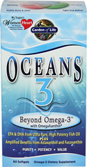 Oceans 3™ Beyond Omega-3 with OmegaXanthin <strong></strong><p><strong>From the Manufacturer: </strong></p><p>Oceans 3 Beyond Omega-3 is the only Omega-3 supplement available with OmegaXanthin™, a synergistic complex of three health-promoting compounds from the ocean.</p><p>EPA/DHA from Ultra Pure, High Potency Fish Oil PLUS benefits from Astaxthin and Fucoxanthin.</p><p>Manufactured by Garden of Life</p><p></p>&