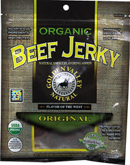 Organic Original Beef Jerky <strong></strong><p><strong></strong>USDA Certified Organic Jerky with a natural smoke flavoring added to satisfy your taste buds! The Original flavor of the West. No preservatives and minimally processed.<br /></p> 3 oz Bag  $14.49