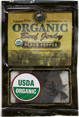 Organic Beef Jerky Black Pepper <b><p>From the Manufacturer: </b></p><p>Certified Organic Beef Jerky with Black Pepper from your friends at Golden Valley Natural.</p> 3 oz Bag  $5.99