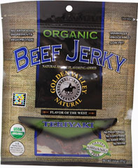 Organic Beef Jerky Teriyaki <p><strong>From the Manufacturer's Label: </strong></p><p>Certified Organic Teriyaki Beef Jerky with a natural smoke flavoring. </p><ul><li>Good Source of Protein</li><li>No Artificial Ingredients</li></ul> 3 oz Bag  $14.49