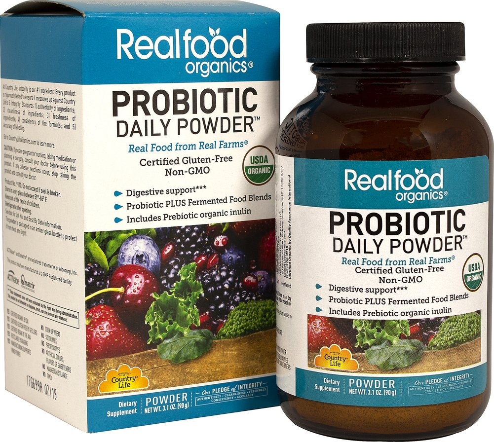 Your Daily Probiotic® <strong></strong><p><strong>From the Manufacturer's Label:</strong></p><p>Immune and digestive support** </p><p>Certified Gluten-Free</p><p>Realfood Organics ® Your Daily Probiotic ® is a unique probiotic that includes a medium of over 20 raw fruits and vegetables. </p><p>Manufactured by Country Life, LLC </p> 60 Tablets 5 billion $15.26