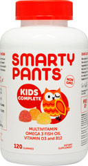 SmartyPants™ All-in-One Gummy Vitamins with Omega 3's and Vitamin D <b><p>From the Manufacturer's Label:</b></p> <p>All-in-one gummy vitamin with eco-friendly DHA & EPA omega 3's, 100% of the US RDI of vitamin D3 plus a full multivitamin that will have kids asking to take their vitamins. No High Fructose Corn Syrup.  Only 5g of organic cane sugar per serving.   Made in California.  Manufactured in a GMP-certified facility. Gluten and casein free. Fre