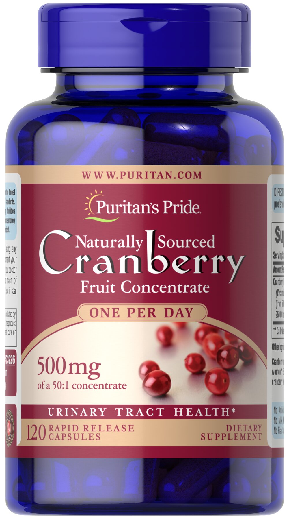 One A Day Cranberry <p>Equivalent to 25,000 mg of Cranberry Fruit per Capsule.</p><p>For years, health experts have recommended cranberry to help promote urinary tract health.**</p><p>Each dose provides the natural benefits of the whole cranberry without any preservatives, sugars, water, flavoring or color.</p> 120 Capsules 500 mg