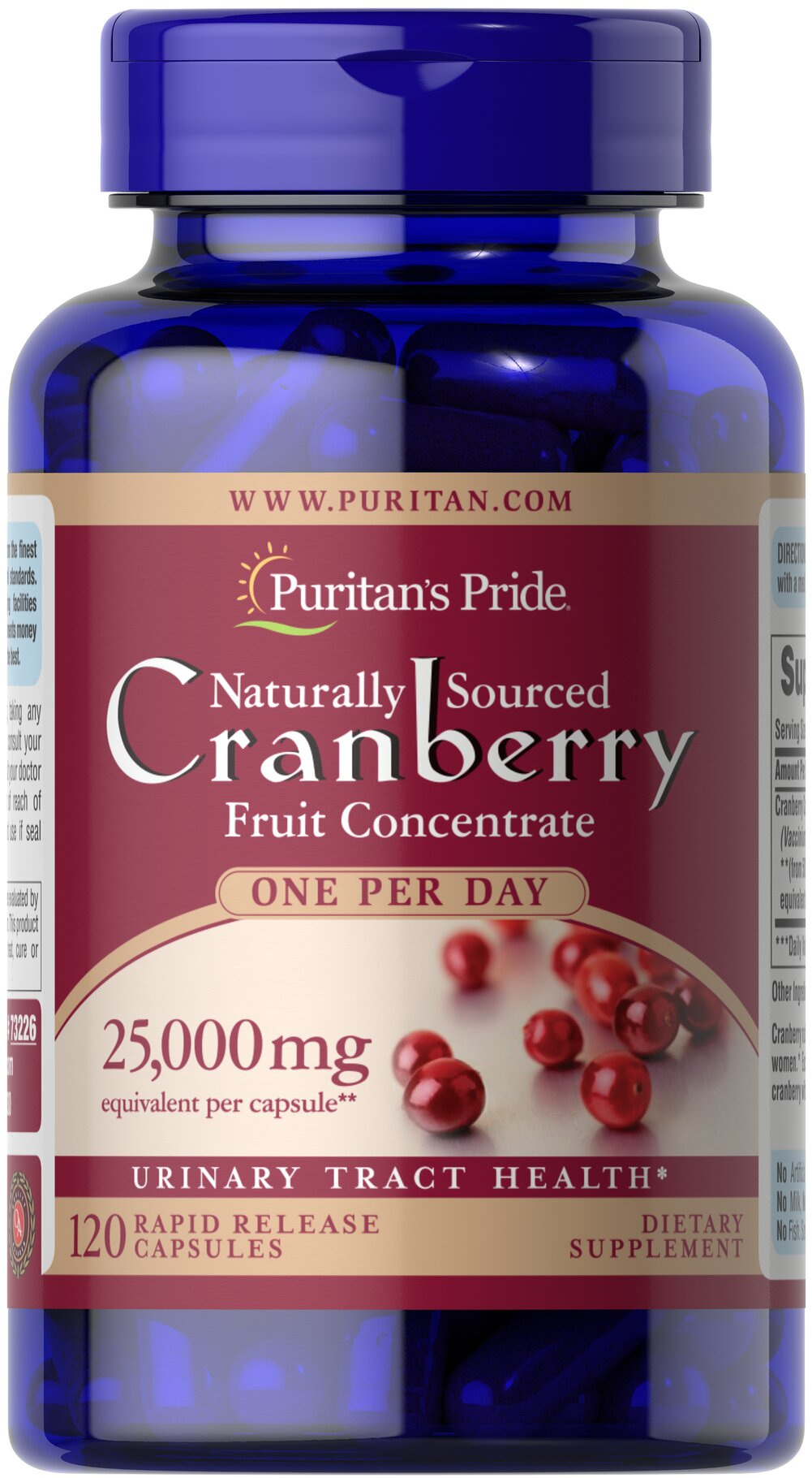 One A Day Cranberry <p>Equivalent to 25,000 mg of Cranberry Fruit per Capsule.</p><p>For years, health experts have recommended cranberry to help promote urinary tract health.**</p><p>Each dose provides the natural benefits of the whole cranberry without any preservatives, sugars, water, flavoring or color.</p> 120 Capsules 500 mg $18.84