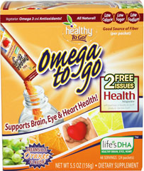 Omega To Go™ Creamsicle Orange <p>Omega To Go is a vege way to help you get Omega-3 fatty acids that you need every day.</p> <p>One packet of Omega To Go is also high in antioxidants from natural Vitamins C, E, & D and is a good source of fiber! </p> <p>It is an orange creamsicle flavor that kids love! For the busy family, it's Healthy To Go!</p>  24 Powder  $16.99