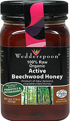 "Raw Organic Beechwood Honey Raw, organic Beechwood honey is produced by bees who collect the nectar from the beechwood trees in New Zealand's South Island rainforests. The sweet, aromatic nectar appears like dew on the trees (this is sometimes referred to as ""honeydew"").<p></p>Beechwood honey provides a source of antioxidants and can be a sweet, delicious addition to your diet.  Of all the honeys produced worldwide, Beechwood honey has the richest mineral content, so yo"