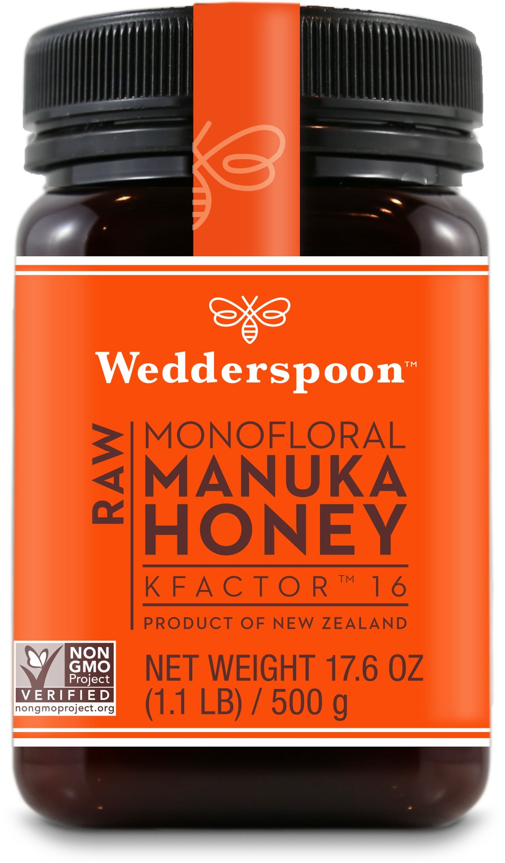 100% Raw Premium Manuka Honey Active 16+ Wedderspoon Raw Manuka Honey comes from a place where beekeepers actually talk to their bees. This delectable honey is sourced from the remote pristine areas of New Zealand's South island.<p></p>The outstanding quality and consistency is guaranteed because Wedderspoon tests each batch of Manuka Honey for its pollen count, live enzymes, antioxidants and phytochemical components.   17.6 oz Jar  $39.99