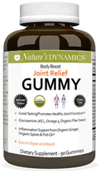 Body Boost Joint Relief Gummy <strong></strong><p><strong>From the Manufacturer's Label:</strong></p><p>Body boost Joint Relief Gummy is made with Organic ingredients.</p><p>-Easy to Digest & Absorb Joint Gummy</p><p>-Contains Glucosamine Sulfate, Chondrotin Sulfate and MSM</p><p>Manufacturecd by Nature's Dynamics.</p> 90 Gummies  $19.99