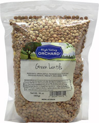 Green Lentils Green Lentils are great in soups, stews or by themselves.  Lentils are low in fat and high in protein and fiber. 16 oz Bag  $6.99