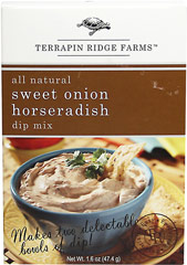 Sweet Onion Horseradish Dip Mix <b><p>From the Manufacturer's label:</b></p> <p>Terrapin Ridge Farms Sweet Onion Horseradish dip mix will help you create epicurean delights at home.</p><p> Horseradish lover's will love this dip.  Intense horseradish flavor is balanced with sweet onions and savory herbs and spices.  Each box makes two dips.</p> 1.6 oz Package  $2.40