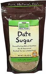 Date Sugar <p><b>From the Manufacturer's Label:</b></p> <p>Pleasant tasting Date Sugar is derived from dates and can be used as a natural sweetener in place of refined sugar.  Add to baked goods, breakfast cereal, toast or beverages.</p> <p>Manufactured by NOW® Foods.</p> 1 lb Package  $5.99