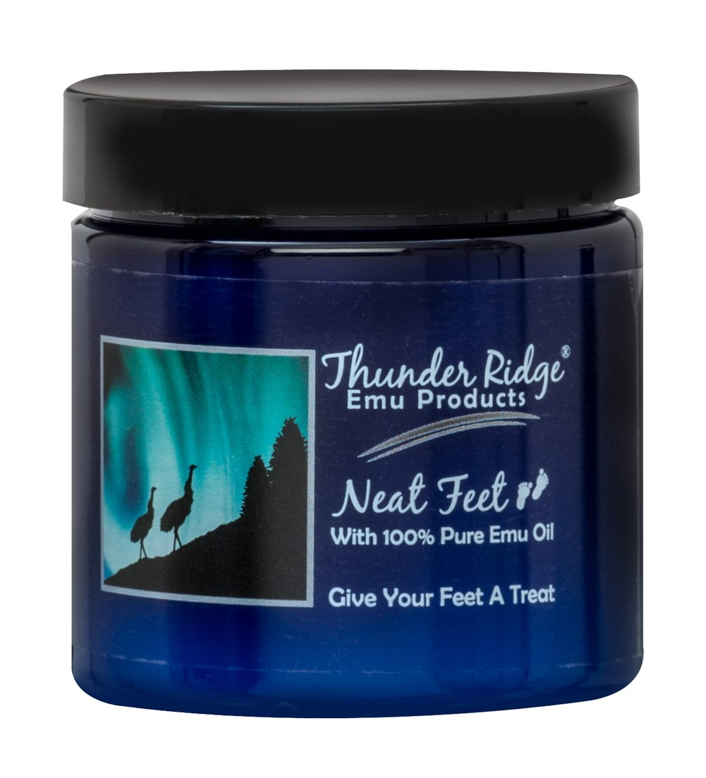 Neat Feet With 100% Pure Emu Oil <p><strong>From the Manufacturer's Label:</strong></p><p>With 100% Pure Emu Oil</p><p>Aloe Vera, Tea Tree Oil and Emu Oil combine in our natural foot cream making it not only an excellent moisturizer for dry cracked feet but also a great product for diabetics.</p><p>Manufactured Thunder Ridge®</p> 4 oz Cream  $9.99