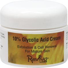 "Glycolic Acid 10% Cream High Potency <p><strong>From the Manufacturer's Label</strong></p><p><span style=""color:#2e2e2e;font-family:Arial, Helvetica, Verdana, sans-serif;line-height:normal;"">Glycolic Acid 10% Cream High Potency is manufactured by Reviva® Labs.</span></p> 1.5 oz Cream  $22.99"