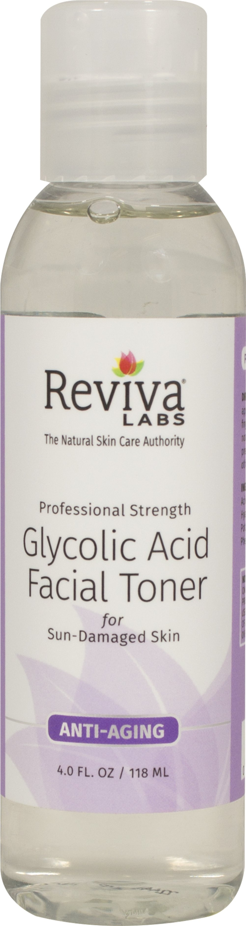 Glycolic Acid Facial Toner <p><strong>From the Manufacturer's Label:</strong></p><p>Glycolic Acid Facial Toner is manufactured by Reviva® Labs.</p><p>- No Animal Ingredients</p><p>- No Animal Testing</p> 4 fl oz Liquid  $8.29