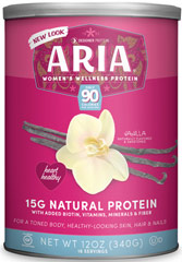 Aria Women's Protein Vanilla <p><strong>From the Manufacturer's Label:</strong></p><ul><li>14 grams of Protein - a balanced blend of Soy & Whey</li><li>No Artificial Colors, Flavors, or Sweetners</li><li>NO MSG</li><li>Non-GMO Soy</li><li>99% Lactose Free (30mg)</li><li>Excellent Source of Calcium, Folic Acid and Vitamin D</li></ul><p><strong></strong><