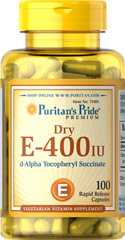 Vitamin E -Dry 400 IU Natural <p>Vitamin E is a powerful antioxidant that helps fight free radicals.** Studies have shown that oxidative stress caused by free radicals may contribute to the premature aging of cells.** Vitamin E also promotes immune function and helps support cardiovascular health.** Our Vitamin E is 100% natural and comes in a vegetarian capsule.</p> 100 Capsules 400 IU $39.99