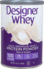 Whey Protein Plain & Simple <p><strong>From the Manufacturer:</strong></p><ul><li>Great Taste</li><li>100 Calories</li><li>19 Grams of Protein</li><li>100% Pure Whey Protein</li><li>Probiotic Fiber</li></ul><p>Manufactured by Designer Whey</p><p><strong></strong></p> 12 oz Powder  $11.99