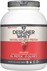 Whey Protein Strawberry <p><strong>From the Manufacturer's Label:</strong></p><p>Whey Protein is manufactured by Designer Whey.</p><p>Available in French Vanilla and Strawberry flavors.</p> 4 lbs Powder  $42.99