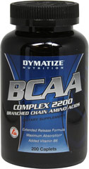 BCAA Complex 2200 <p><strong>From the manufacturer: </strong></p><p>• Branched Chain Amino Acids<br />• Extended Release Formula<br />• Maximum Absorption<br />• Added Vitamin B6</p><p>Dymatize BCAA Complex 2200 provides 2,200 mg of free form Branched Chain Amino Acids (BCAAs) per serving. </p><p>Manufactured by Dymatize Nutrition<br /></p> 200 Caplets  $16.99