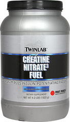 Creatine Nitrate Fuel <p><b>From the Manufacturer's Label:</b></p> <p>Creatine Nitrate Fuel is manufactured by Twinlab.</p> 4.2 lbs Powder  $34.99