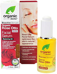 Rose Otto Facial Serum <strong>From Manufacturer's Label:</strong><br /><br />Organic Doctor® Rose Otto Facial Serum - A natural new generation healthy-aging serum rich in polypeptides, phospholipids, ceramides, antioxidants and omega 3, 6 and 9.<br /><br />• Optimizes skin hydration<br />• Lowers transdermal dehydration<br />• Moisturizing and hydrating<br />• Nourishes and restores<br />• Antioxidant protection<br />&lt