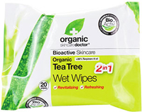 Tea Tree Wet Wipes <strong>From Manufacturer's Label:</strong><br /><br />Organic Doctor® Tea Tree Wet Wipes – 2 in 1 Revitalizing and Refreshing<br /><br />Cleanse your skin naturally and let the powerful bioactive Tea Tree oil purify and protect your skin.<br /><br />Free from: • SLS • Parabens • Artificial colors • Phthalates • Harsh preservatives<br /><br />Organic and Natural Bioactive ingredients:<br /><br />•