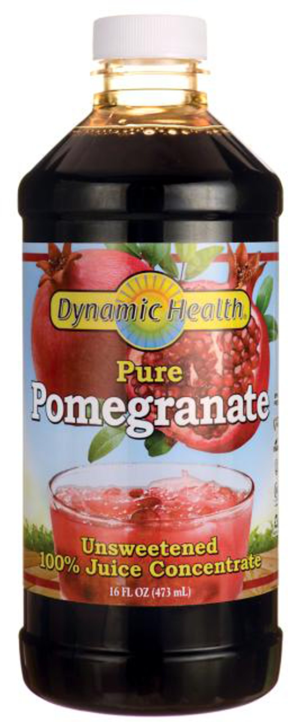 Pomegranate Juice Concentrate <p>Convenient, delicious way to obtain the beneficial compounds in pomegranate fruit</p><p>Manufactured by Dynamic Health Laboratories, Inc.</p> 16 oz Liquid  $11.99