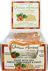 "Quinoa Apricot Whole Food Bar <h2><strong>Made with 50% Fresh Vegetables and Fruit.</strong></h2><p>Quinoa Apricot has the powerful mix of organic quinoa, apricots, dates, and figs. This bar is made with fresh sweet potatoes, carrots and yellow beets, with cashews and almonds.</p><ul><li><span style=""font-size:9.0pt;font-family:'Arial','sans-serif';color:#2E2E2E;""></span>37g Whole Grains</li></ul>&l"