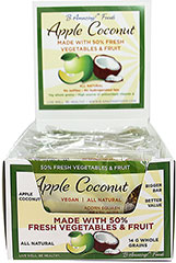 "Apple Coconut Whole Food Bar <h2><strong>Made with 50% Fresh Vegetables and Fruit.</strong></h2><p>Apple Coconut combine sweet apples, Saigon cinnamon, and coconut. This bar is made with fresh squash, sweet potatoes, carrots, and yellow beets. For additional flavor, it also has brazil nuts and pecans.</p><ul><li><span style=""font-size:9.0pt;font-family:'Arial','sans-serif';color:#2E2E2E;""></span>16% of RDV for"