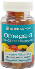 Omega 3 Gummy Vitamins for Adults <p><strong>From the Manufacturer's Label:</strong></p><p>Naturally flavored Lemon gummy vitamins without any artificial colors, flavors, or preservatives. All the benefits of Omega-3 without the fishy taste.</p><p>Flaxseed Oil Extract and Purified Fish Oil Concentrate Omega Fatty Acid Blend 300mg</p><p>Manufactured by Nutrition Now</p><p></p> 60 Gummies  $7.99
