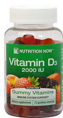 Vitamin D Gummy Vitamins <p>• Adult Formula</p><p>• Bone Support</p><p>• Natural Colors</p><p>• Natural Flavors: Blackberry, Peach & Strawberry</p> 75 Gummies 1000 IU $5.99