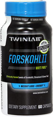 Forskohlii <p><strong> From the Manufacturer's label:</strong></p><p>10% Standardized Forskohlii - 125 mg per serving</p><p>Contains Chromium and Green Tea</p><p>Manufactured by Twinlab Corporation</p> 60 Capsules  $13.99